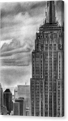 Empire State Building New York Pencil Drawing Canvas Print