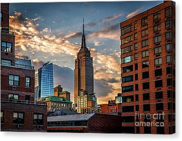 Empire State Building Sunset Rooftop Canvas Print