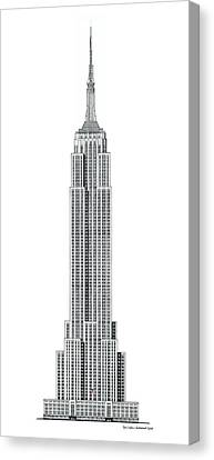 Limited Canvas Print - Limited Edition Empire State Building With Flag - Black And White by Gene Nelson