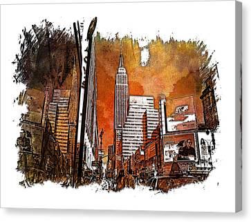 Empire State Reflections Earthy Rainbow 3 Dimensional Canvas Print by Di Designs