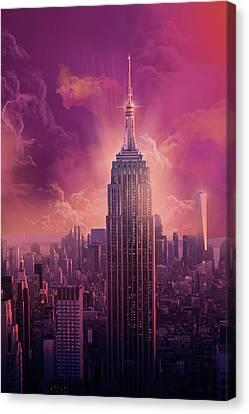 Purple Canvas Print - Empire State Building Sunset by Bekim Art