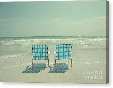 Empty Beach Chairs Canvas Print