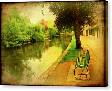 Empty Bench Canvas Print by Svetlana Sewell