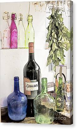 Empty Bottles And Laurel Bouquet Still Life Canvas Print by Heiko Koehrer-Wagner