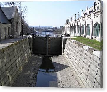 Empty Canal Lock Canvas Print by Richard Mitchell