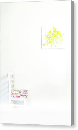 Empty Chair With Yellow Roses Canvas Print