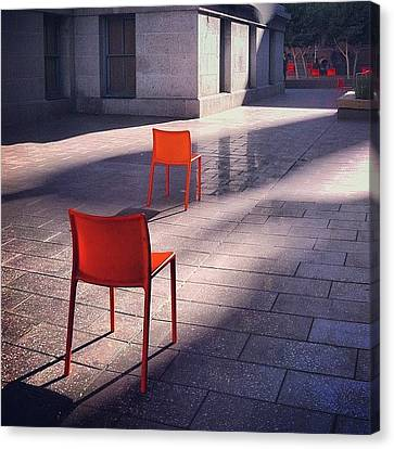 Light Canvas Print - Empty Chairs At Mint Plaza by Julie Gebhardt