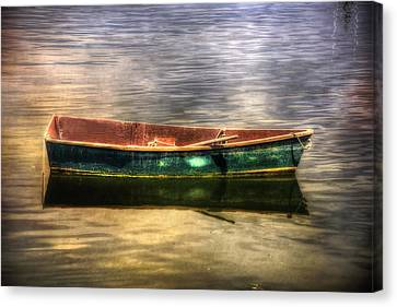 Boats In Water Canvas Print - Empty Docked Rowboat by Joann Vitali
