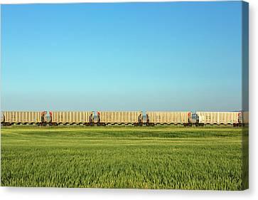 Train Tracks Canvas Print - Empty Hoppers by Todd Klassy