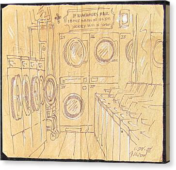 Empty Laundromat Canvas Print