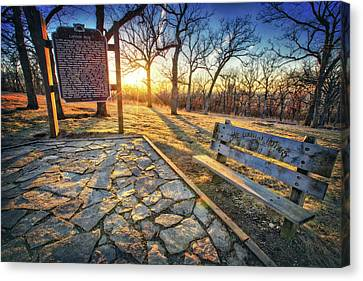 Canvas Print featuring the photograph Empty Park Bench - Sunset At Lapham Peak by Jennifer Rondinelli Reilly - Fine Art Photography