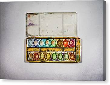 Empty Watercolor Paint Trays Canvas Print by Scott Norris