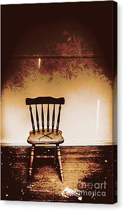 Empty Wooden Chair With Cross Sign Canvas Print