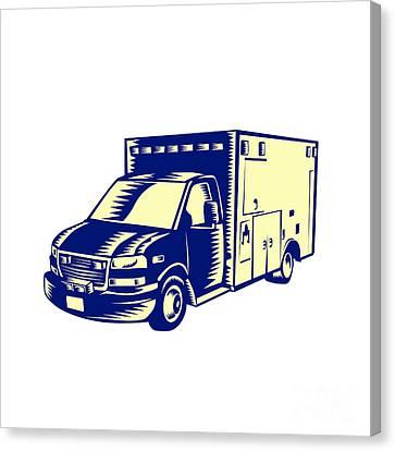 Ems Ambulance Emergency Vehicle Woodcut Canvas Print by Aloysius Patrimonio