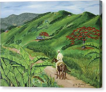 En El Campo A Caballo Canvas Print by Luis F Rodriguez