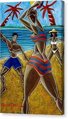 En Luquillo Se Goza Canvas Print by Oscar Ortiz