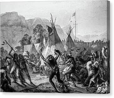 Encampment Of Piekann Native Americans Canvas Print by Douglas Barnett