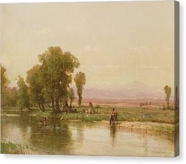 Encampment On The Platte River Canvas Print by Thomas Worthington Whittredge