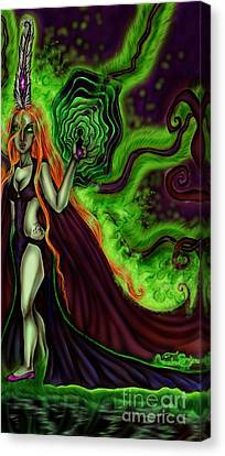 Enchanted By An Emerald Flame Canvas Print by Coriander Shea
