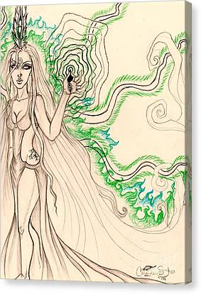 Enchanted By An Emerald Flame Sketch Canvas Print by Coriander Shea