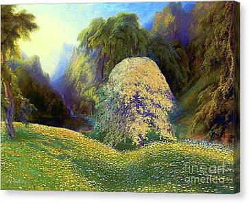 Water Falls Canvas Print - Enchanted By Daisies, Modern Impressionism, Wildflowers, Silver Birch, Aspen by Jane Small