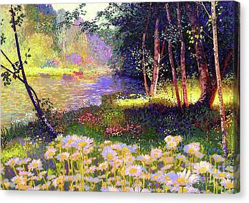Enchanted By Daisies, Modern Impressionism, Wildflowers, Silver Birch, Aspen Canvas Print