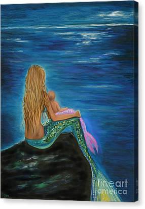 Enchanted Mermaids Baby Canvas Print by Leslie Allen