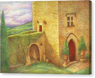 Canvas Print featuring the painting Enchanting Fairytale Chateau Landscape by Judith Cheng