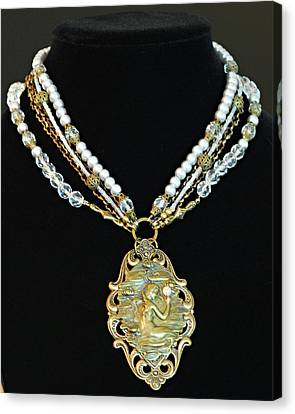 Enchanting Lady Choker Necklace Canvas Print by Renee Hong