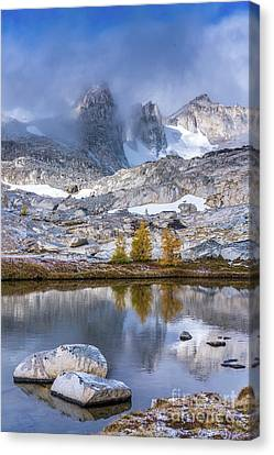 Enchantments Majestic Peaks Fall Larches Canvas Print by Mike Reid