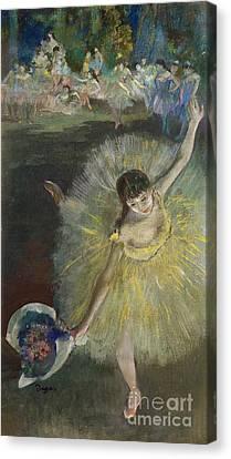 Ballet Dancers Canvas Print - End Of An Arabesque by Edgar Degas