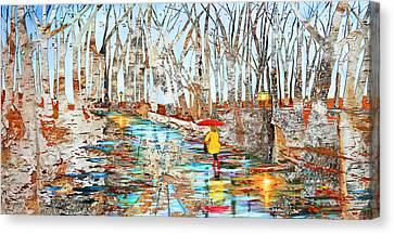End Of Autumn Birch Background Canvas Print by Ken Figurski