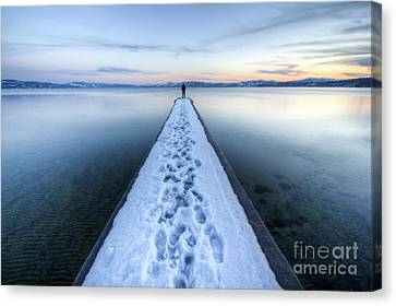 End Of The Dock In Lake Tahoe  Canvas Print by Dustin K Ryan