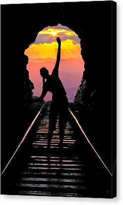 End Of The Line Canvas Print by Debra and Dave Vanderlaan