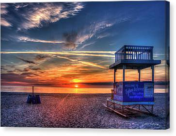 Canvas Print featuring the photograph Endless Summer Sunrise Lifeguard Stand Tybee Island Georgia Art by Reid Callaway