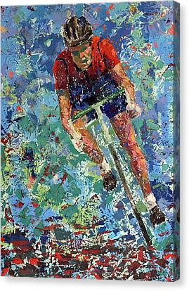 Canvas Print featuring the painting Enduring The Last Mile by Walter Fahmy