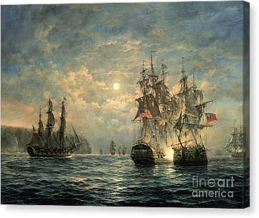 Moon Canvas Print - Engagement Between The 'bonhomme Richard' And The ' Serapis' Off Flamborough Head by Richard Willis