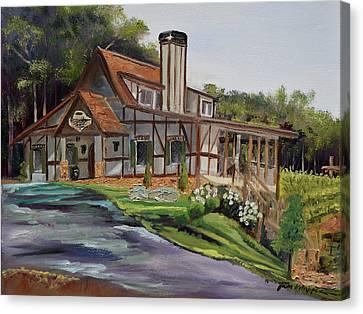 Canvas Print featuring the painting Engelheim In The Morning - Vineyard - Ellijay, Ga by Jan Dappen