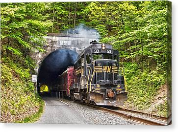 Engine 501 Coming Through The Brush Tunnel Canvas Print