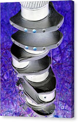 Engine Crankshaft Colorized Abstract Canvas Print by Diann Fisher