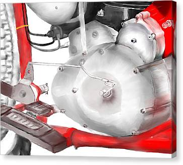 Canvas Print featuring the drawing Engine Detail by Terry Frederick
