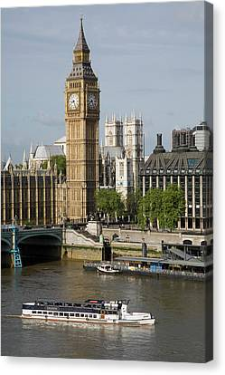England, London, Big Ben And Thames River Canvas Print by Jerry Driendl