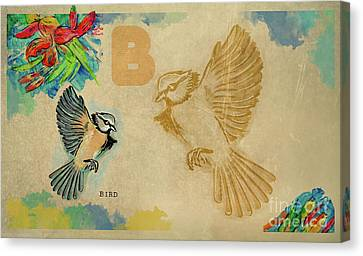 Canvas Print featuring the drawing English Alphabet , Bird by Ariadna De Raadt