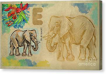 Canvas Print featuring the drawing English Alphabet , Elephant by Ariadna De Raadt