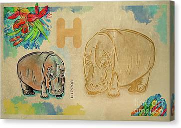 Canvas Print featuring the drawing English Alphabet ,  Hippos by Ariadna De Raadt