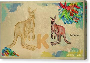 Canvas Print featuring the drawing English Alphabet , Kangaroo by Ariadna De Raadt