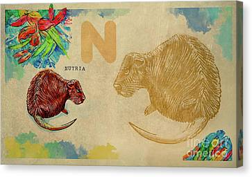 Canvas Print featuring the drawing English Alphabet , Nutria by Ariadna De Raadt