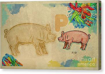Canvas Print featuring the drawing English Alphabet , Pig by Ariadna De Raadt