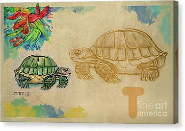 Canvas Print featuring the drawing English Alphabet , Turtle  by Ariadna De Raadt