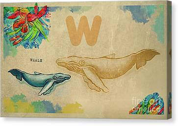 Canvas Print featuring the drawing English Alphabet , Whale by Ariadna De Raadt